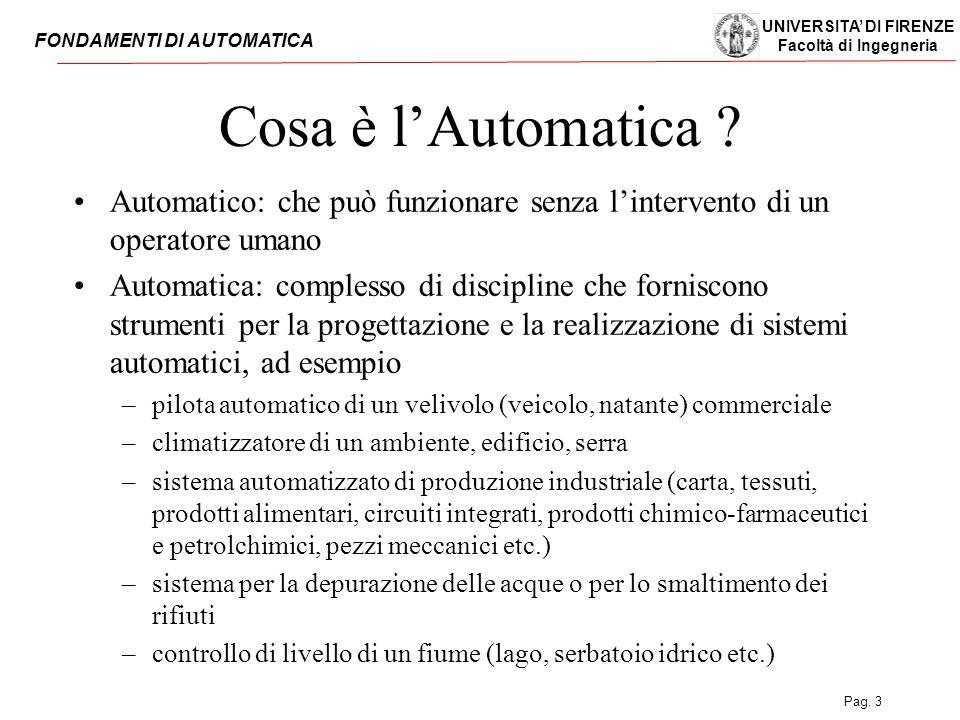 UNIVERSITA' DI FIRENZE Facoltà di Ingegneria FONDAMENTI DI AUTOMATICA Pag. 3 Cosa è l'Automatica ? Automatico: che può funzionare senza l'intervento d