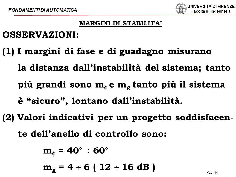 UNIVERSITA' DI FIRENZE Facoltà di Ingegneria FONDAMENTI DI AUTOMATICA Pag. 94 MARGINI DI STABILITA' OSSERVAZIONI: (1) I margini di fase e di guadagno