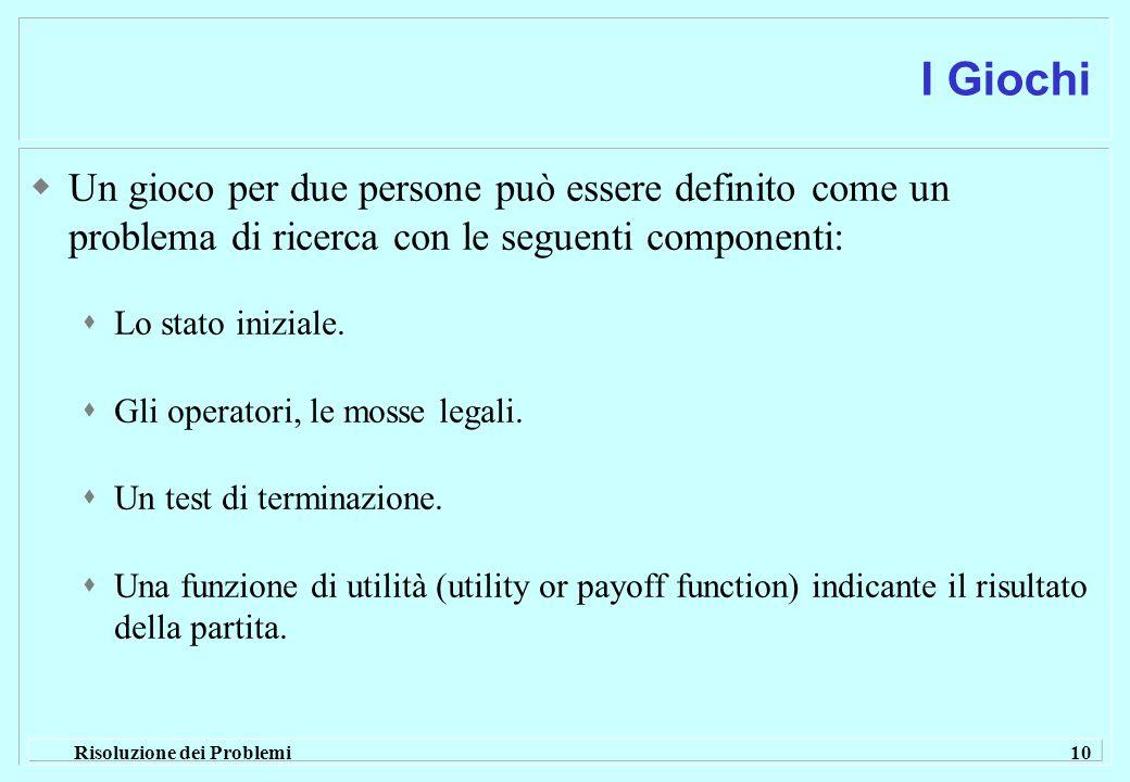 Risoluzione dei Problemi 10 I Giochi  Un gioco per due persone può essere definito come un problema di ricerca con le seguenti componenti:  Lo stato iniziale.