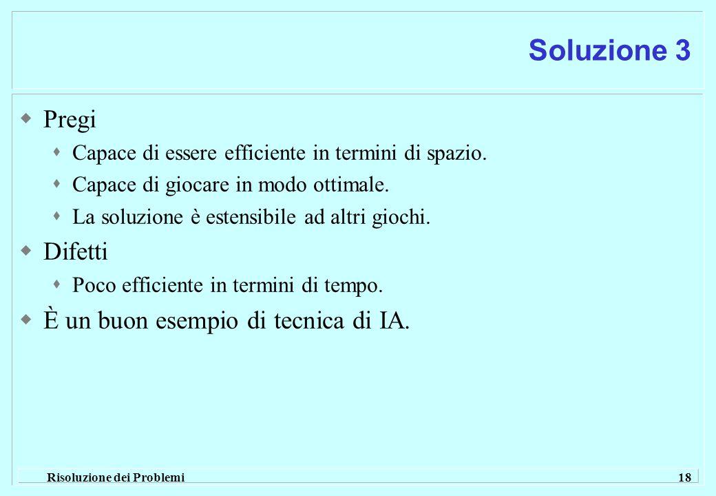 Risoluzione dei Problemi 18 Soluzione 3  Pregi  Capace di essere efficiente in termini di spazio.