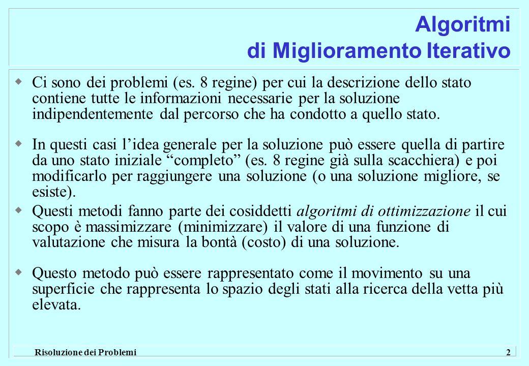 Risoluzione dei Problemi 2 Algoritmi di Miglioramento Iterativo  Ci sono dei problemi (es.
