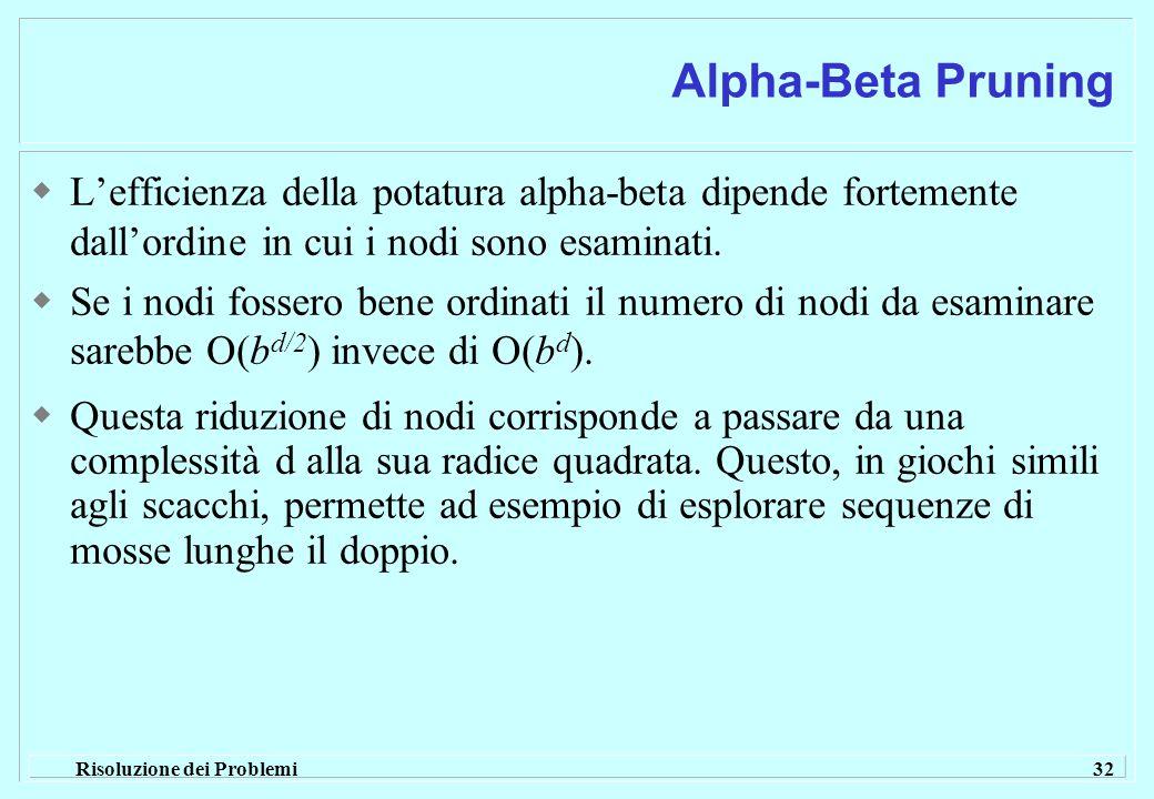 Risoluzione dei Problemi 32 Alpha-Beta Pruning  L'efficienza della potatura alpha-beta dipende fortemente dall'ordine in cui i nodi sono esaminati.