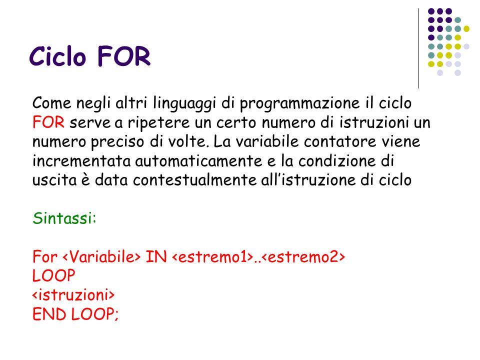 Ciclo FOR Come negli altri linguaggi di programmazione il ciclo FOR serve a ripetere un certo numero di istruzioni un numero preciso di volte.