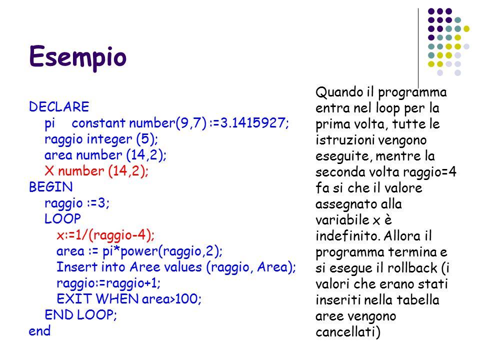 Esempio DECLARE pi constant number(9,7) :=3.1415927; raggio integer (5); area number (14,2); X number (14,2); BEGIN raggio :=3; LOOP x:=1/(raggio-4); area := pi*power(raggio,2); Insert into Aree values (raggio, Area); raggio:=raggio+1; EXIT WHEN area>100; END LOOP; end Quando il programma entra nel loop per la prima volta, tutte le istruzioni vengono eseguite, mentre la seconda volta raggio=4 fa si che il valore assegnato alla variabile x è indefinito.
