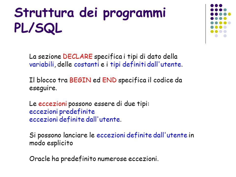 Struttura dei programmi PL/SQL La sezione DECLARE specifica i tipi di dato della variabili, delle costanti e i tipi definiti dall utente.