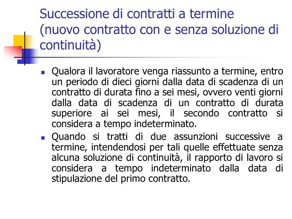 Scadenza del termine (continuazione senza soluzione di continuità) Se il rapporto di lavoro continua dopo la scadenza del termine inizialmente fissato
