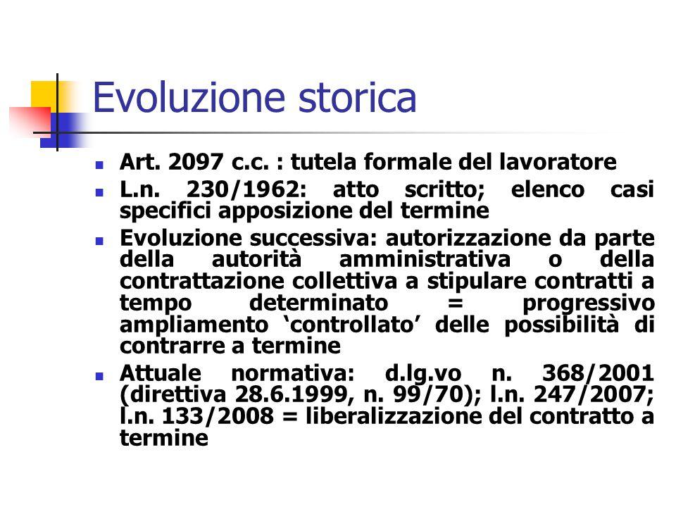 Contratto a tempo determinato L.n. 230 del 1962 D.lg.vo n. 368/2001 (di attuazione della direttiva 28.6.1999, n. 99/70) L.n. 247 del 2007 L.n. 133 del
