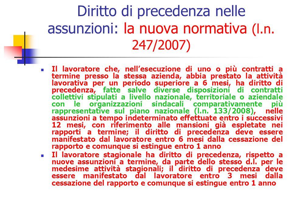 Diritto di precedenza nelle assunzioni: la vecchia normativa (È affidata ai contratti collettivi nazionali di lavoro stipulati dai sindacati comparati