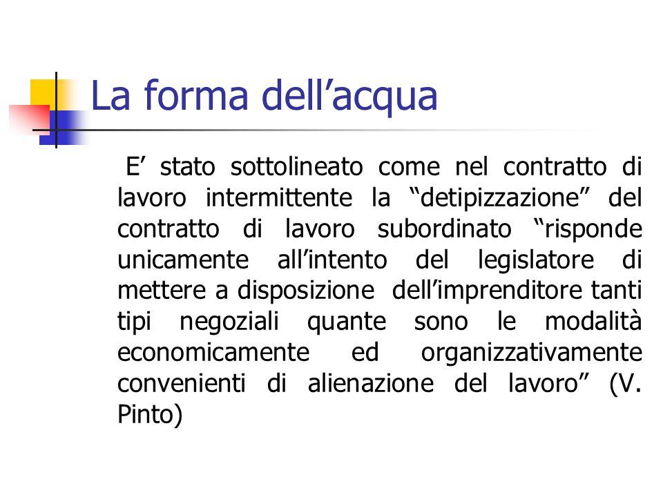 La forma dell'acqua * * A. Camilleri Lo schema proposto può assumere i contenuti del lavoro a tempo parziale, del lavoro a tempo pieno, del lavoro a t