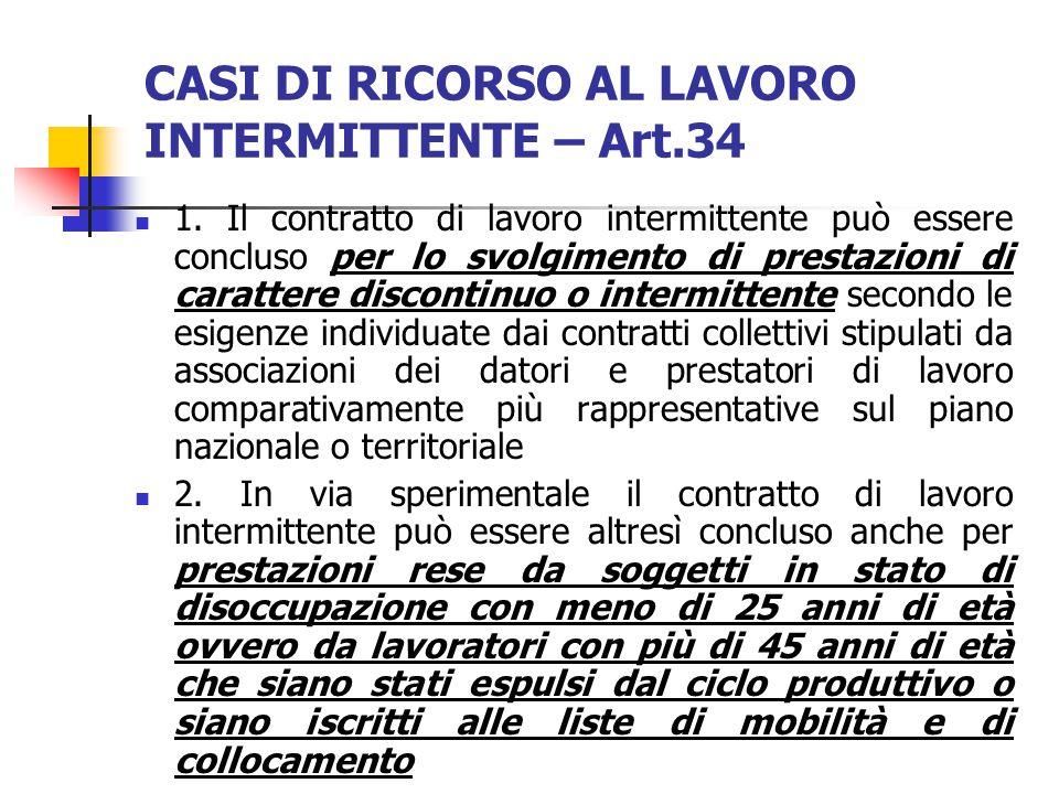 Art. 33 - Definizione ASSENZA DI OBBLIGHI RECIPROCI, SALVA LA PATTUIZIONE DELL'INDENNITA' DI DISPONIBILITA'