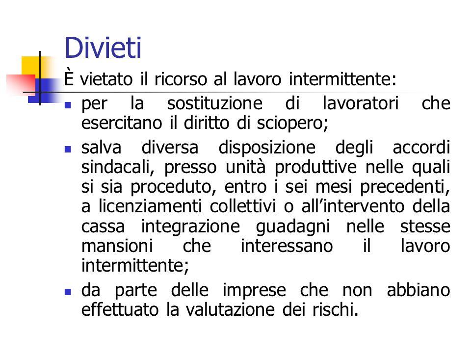 CASI DI RICORSO AL LAVORO INTERMITTENTE – Art.34 1. Il contratto di lavoro intermittente può essere concluso per lo svolgimento di prestazioni di cara
