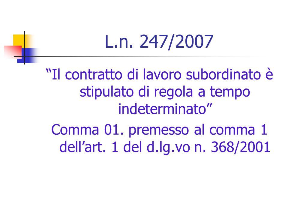 Termine:definitivo abbandono del principio di tassatività È consentita l'apposizione di un termine alla durata del contratto di lavoro subordinato a f