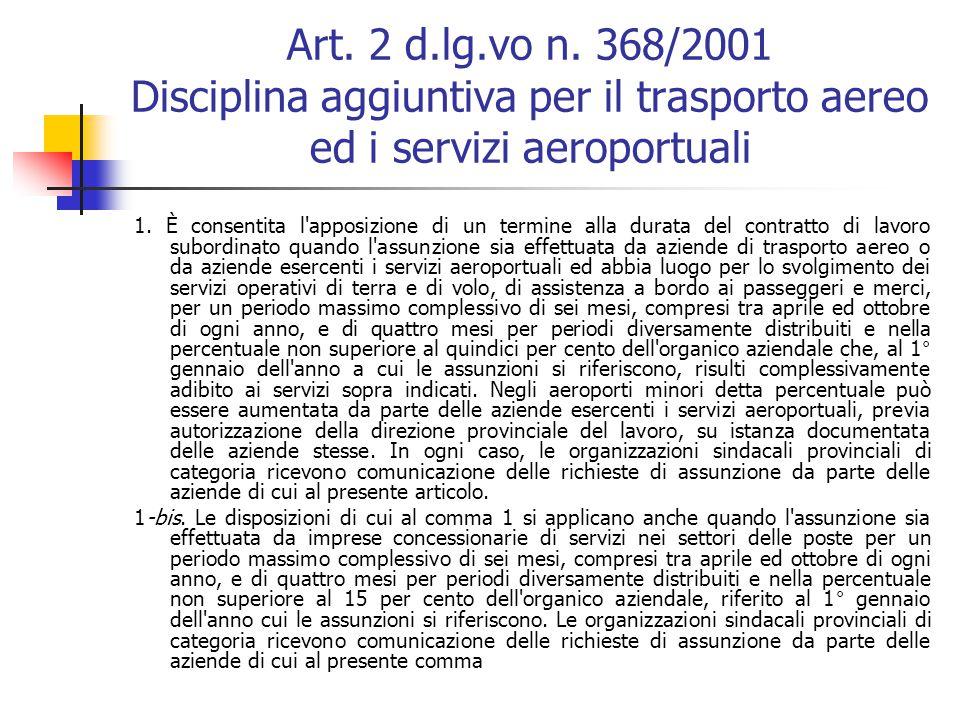 Art. 1 d.lg.vo n. 368/2001 (dopo le modifiche del 2007 e del 2008) Apposizione del termine 01. Il contratto di lavoro subordinato è stipulato di regol
