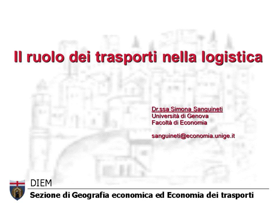 Il ruolo dei trasporti nella logistica Dr.ssa Simona Sanguineti Università di Genova Facoltà di Economia sanguineti@economia.unige.it