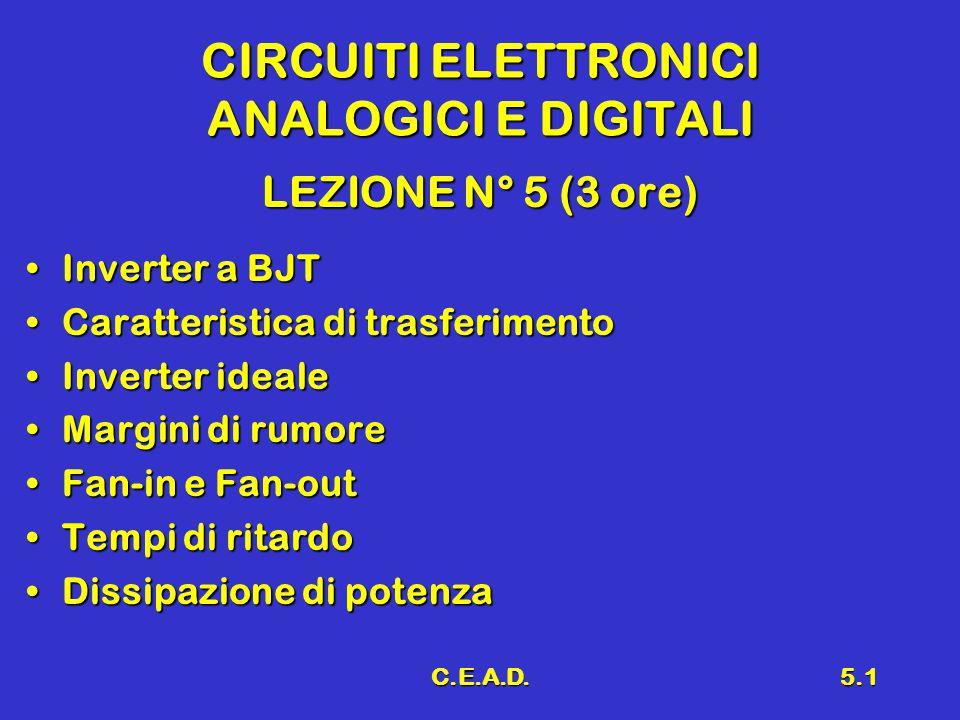 C.E.A.D.5.1 CIRCUITI ELETTRONICI ANALOGICI E DIGITALI LEZIONE N° 5 (3 ore) Inverter a BJTInverter a BJT Caratteristica di trasferimentoCaratteristica