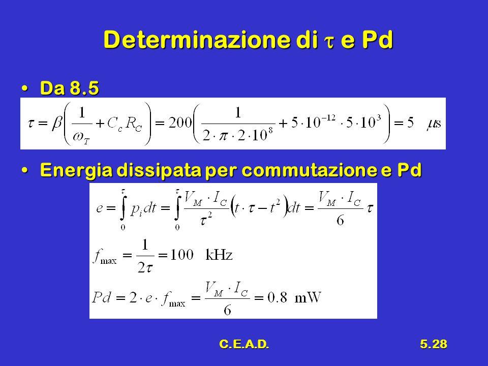 C.E.A.D.5.28 Determinazione di  e Pd Da 8.5Da 8.5 Energia dissipata per commutazione e PdEnergia dissipata per commutazione e Pd