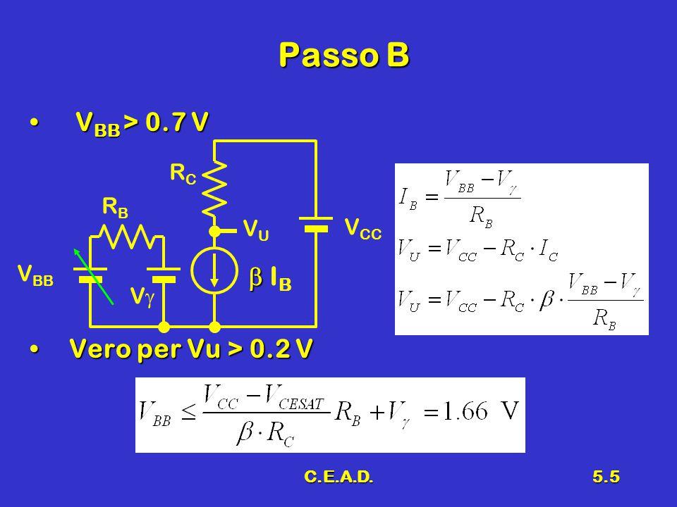 C.E.A.D.5.5 Passo B V BB > 0.7 V V BB > 0.7 V Vero per Vu > 0.2 VVero per Vu > 0.2 V VV V BB RBRB RCRC V CC VUVU   IB  IB