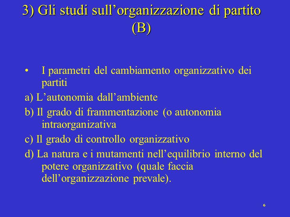 5 3) Gli studi sull'organizzazione di partito (A) In cosa consiste precisamente il cambiamento quando i partiti si spostano verso uno stile pigliatutti.