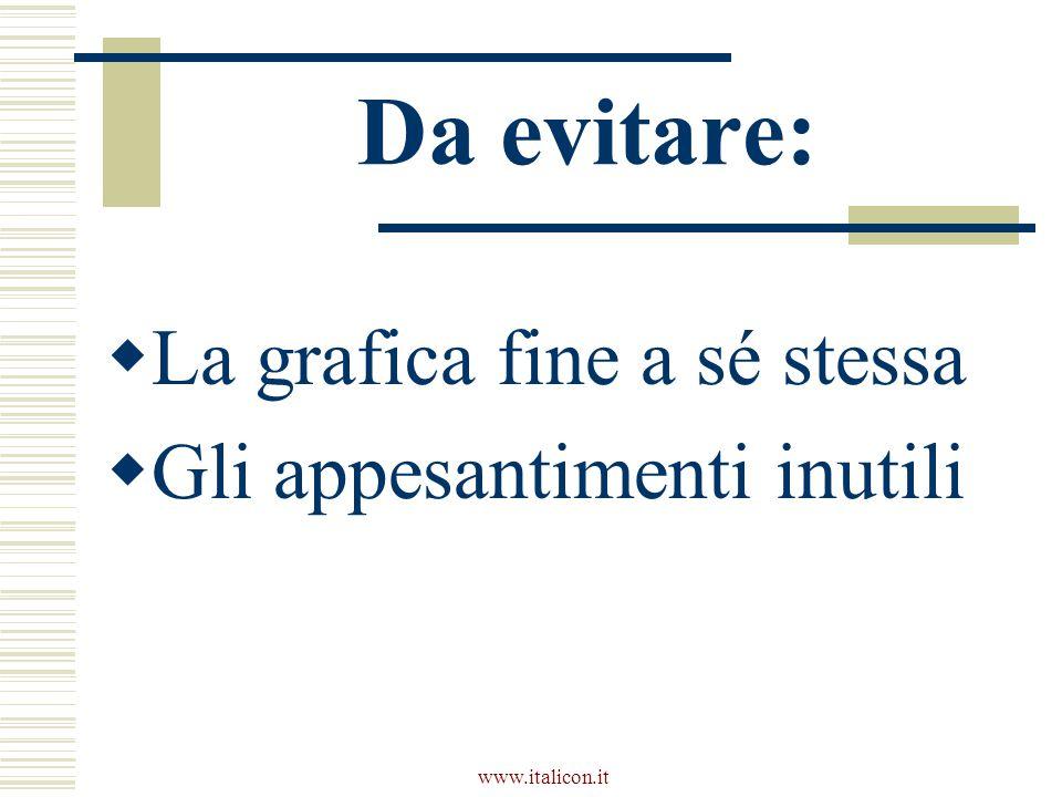 www.italicon.it Da evitare:  La grafica fine a sé stessa  Gli appesantimenti inutili