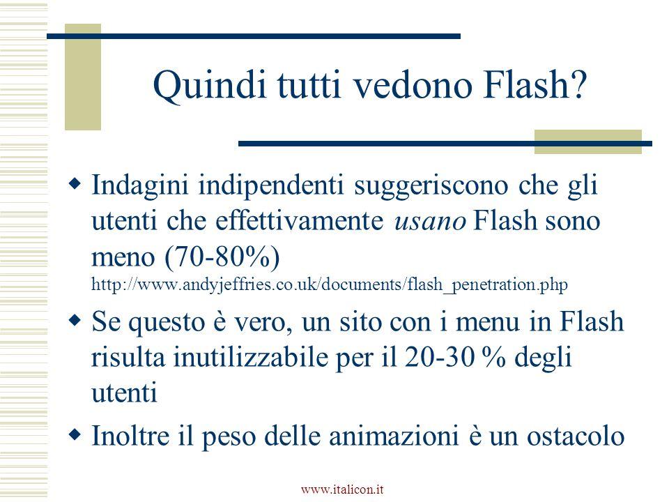 www.italicon.it Quindi tutti vedono Flash.