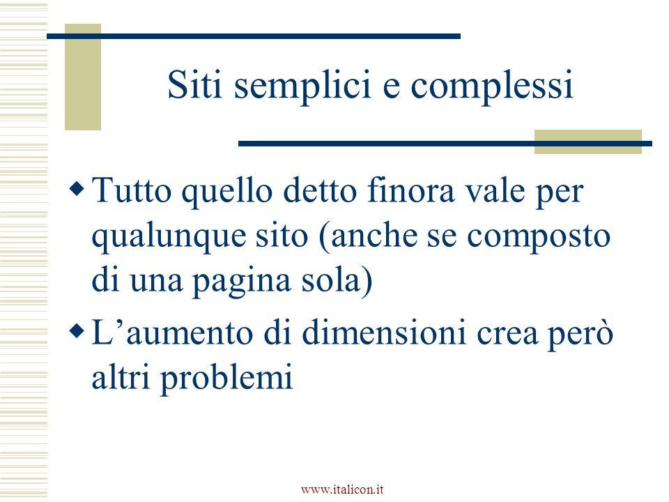 www.italicon.it Siti semplici e complessi  Tutto quello detto finora vale per qualunque sito (anche se composto di una pagina sola)  L'aumento di dimensioni crea però altri problemi