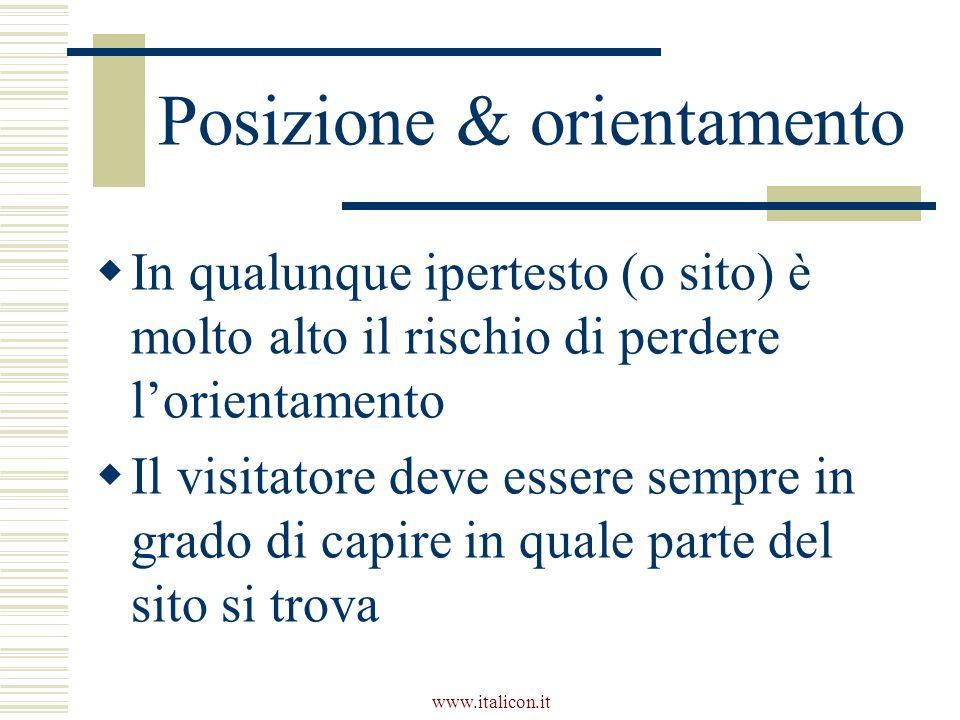 www.italicon.it Posizione & orientamento  In qualunque ipertesto (o sito) è molto alto il rischio di perdere l'orientamento  Il visitatore deve essere sempre in grado di capire in quale parte del sito si trova
