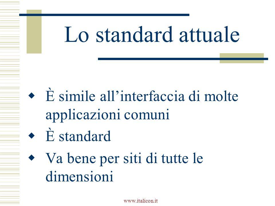 www.italicon.it Lo standard attuale  È simile all'interfaccia di molte applicazioni comuni  È standard  Va bene per siti di tutte le dimensioni