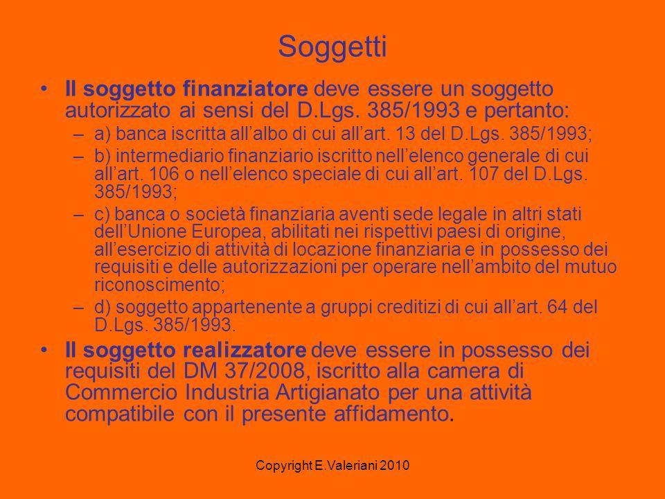 Copyright E.Valeriani 2010 Soggetti Il soggetto finanziatore deve essere un soggetto autorizzato ai sensi del D.Lgs.