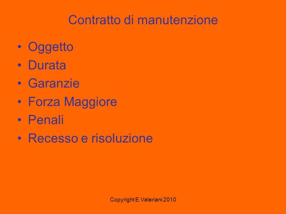 Copyright E.Valeriani 2010 Contratto di manutenzione Oggetto Durata Garanzie Forza Maggiore Penali Recesso e risoluzione