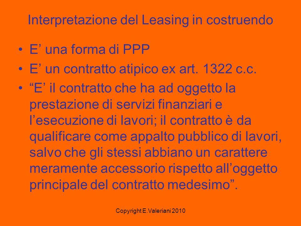 Copyright E.Valeriani 2010 Interpretazione del Leasing in costruendo E' una forma di PPP E' un contratto atipico ex art.