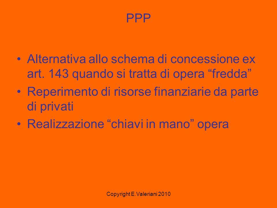 Copyright E.Valeriani 2010 PPP Alternativa allo schema di concessione ex art.