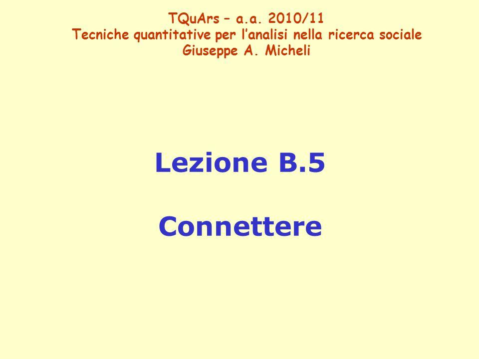 TQuArs – a.a. 2010/11 Tecniche quantitative per l'analisi nella ricerca sociale Giuseppe A.