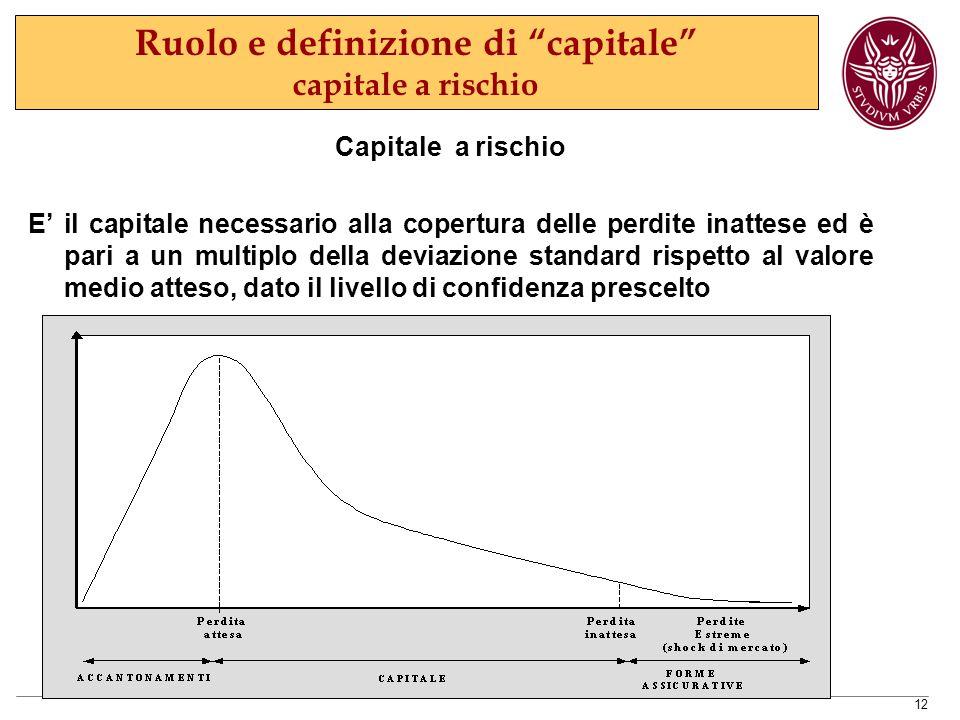 12 Ruolo e definizione di capitale capitale a rischio Capitale a rischio E' il capitale necessario alla copertura delle perdite inattese ed è pari a un multiplo della deviazione standard rispetto al valore medio atteso, dato il livello di confidenza prescelto