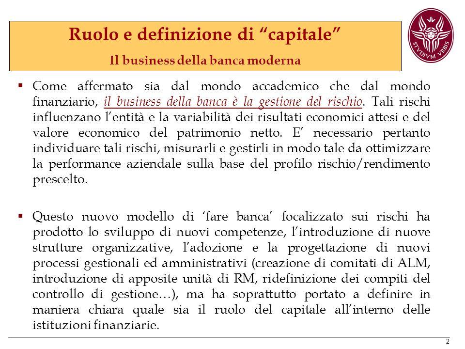 2  Come affermato sia dal mondo accademico che dal mondo finanziario, il business della banca è la gestione del rischio.