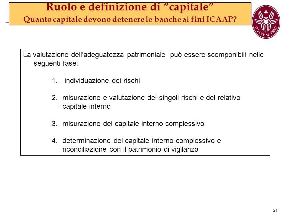 21 La valutazione dell'adeguatezza patrimoniale può essere scomponibili nelle seguenti fase: 1.