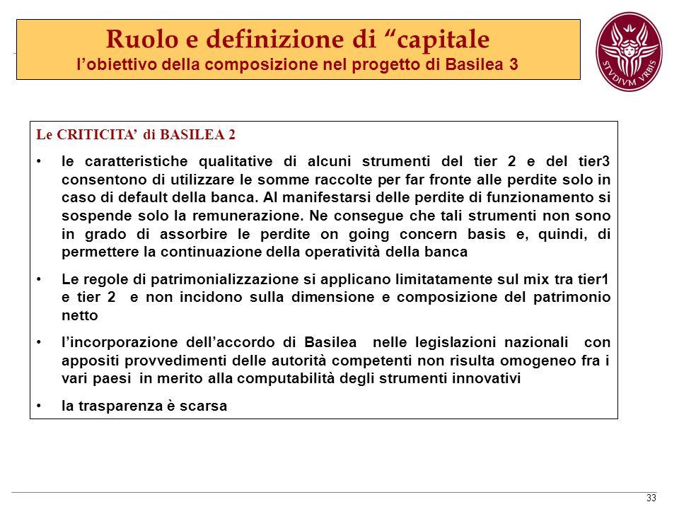 33 Le CRITICITA' di BASILEA 2 le caratteristiche qualitative di alcuni strumenti del tier 2 e del tier3 consentono di utilizzare le somme raccolte per far fronte alle perdite solo in caso di default della banca.