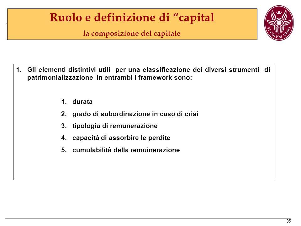 35 1.Gli elementi distintivi utili per una classificazione dei diversi strumenti di patrimonializzazione in entrambi i framework sono: 1.durata 2.grado di subordinazione in caso di crisi 3.tipologia di remunerazione 4.capacità di assorbire le perdite 5.cumulabilità della remuinerazione Ruolo e definizione di capital la composizione del capitale