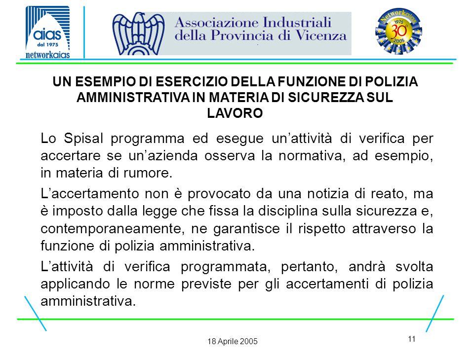 11 18 Aprile 2005 Lo Spisal programma ed esegue un'attività di verifica per accertare se un'azienda osserva la normativa, ad esempio, in materia di rumore.