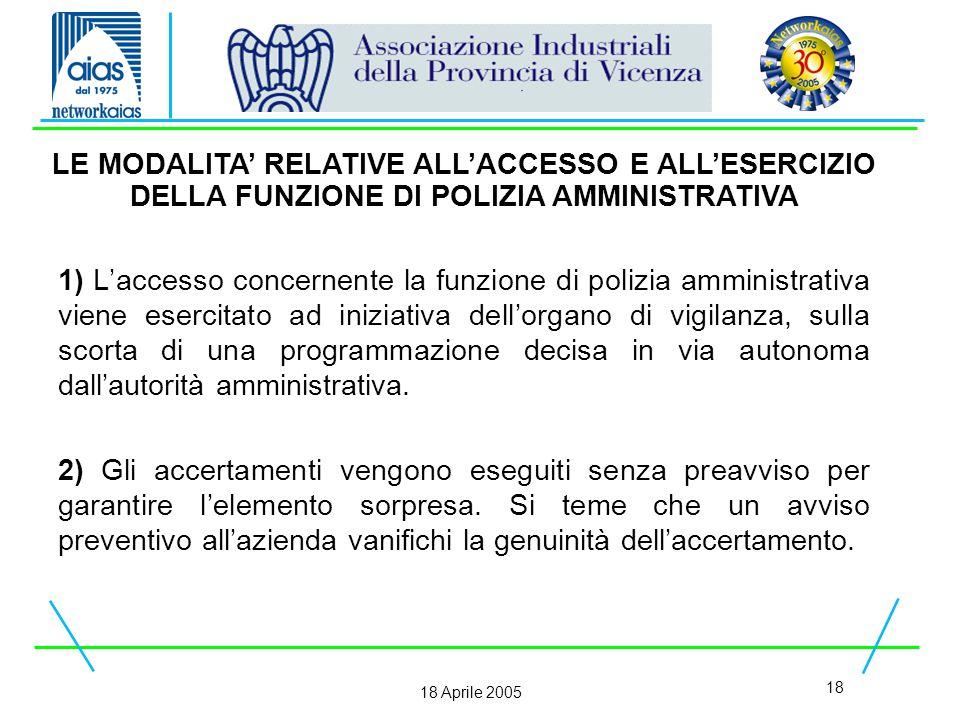18 18 Aprile 2005 1) L'accesso concernente la funzione di polizia amministrativa viene esercitato ad iniziativa dell'organo di vigilanza, sulla scorta di una programmazione decisa in via autonoma dall'autorità amministrativa.