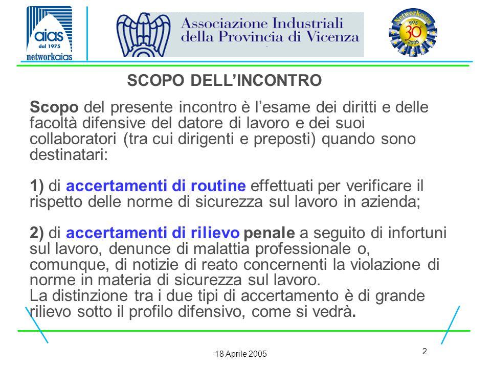 23 18 Aprile 2005 Gli accertamenti di polizia amministrativa possono essere suddivisi in quattro tipi: 1) l'ispezione dei luoghi, degli impianti, dei macchinari e di tutti i mezzi di protezione collettiva e individuale.
