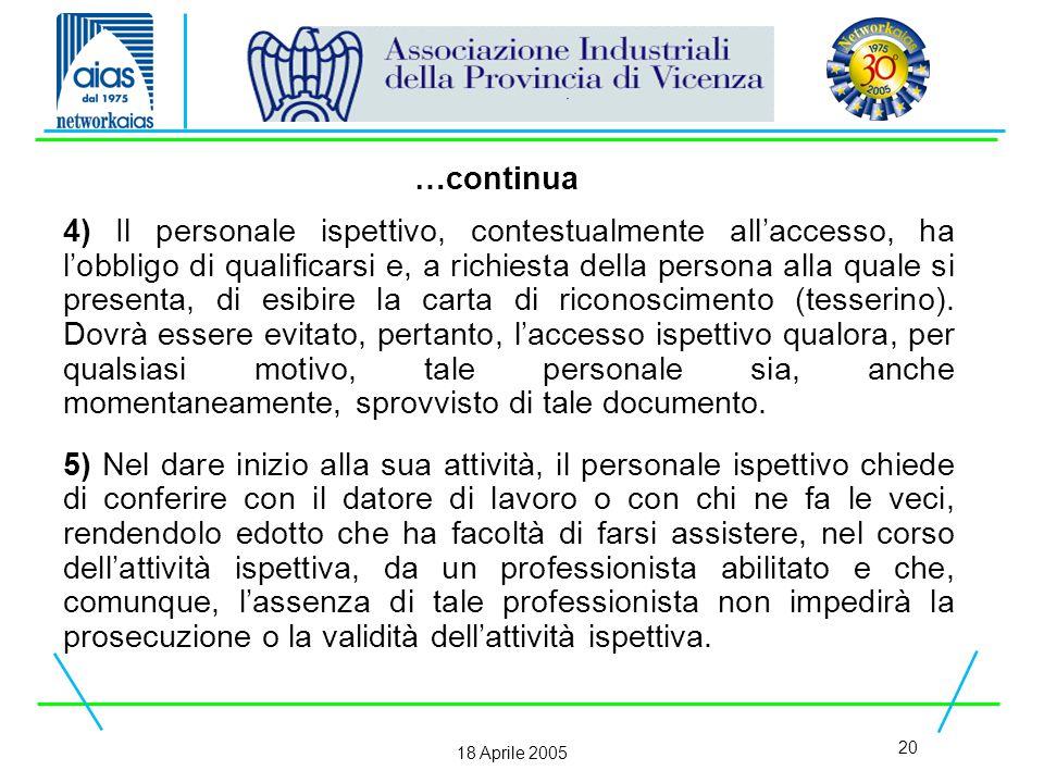 20 18 Aprile 2005 4) Il personale ispettivo, contestualmente all'accesso, ha l'obbligo di qualificarsi e, a richiesta della persona alla quale si presenta, di esibire la carta di riconoscimento (tesserino).