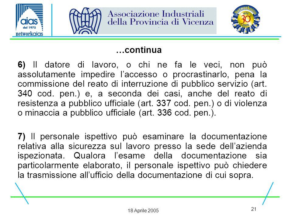 21 18 Aprile 2005 6) Il datore di lavoro, o chi ne fa le veci, non può assolutamente impedire l'accesso o procrastinarlo, pena la commissione del reato di interruzione di pubblico servizio (art.