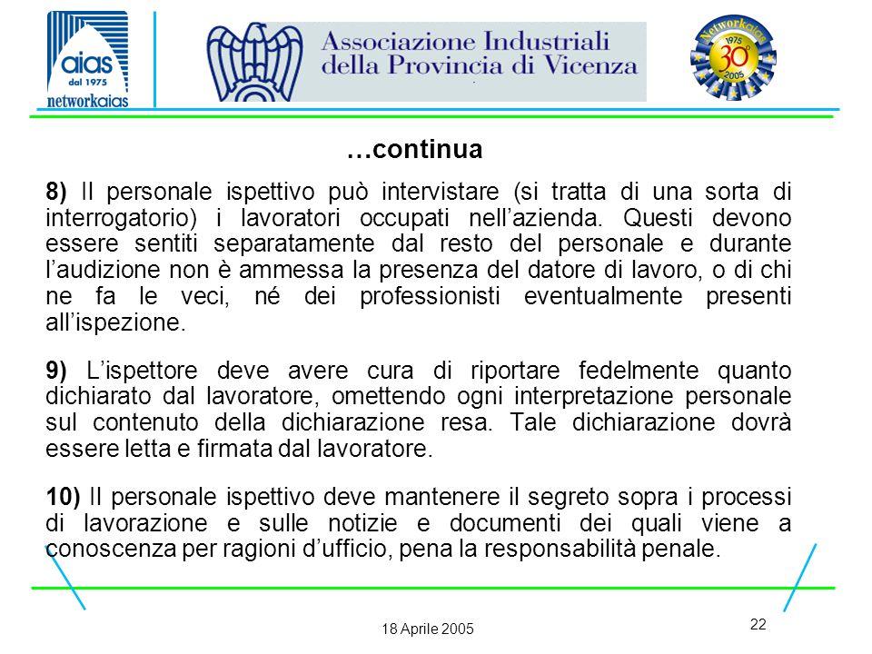 22 18 Aprile 2005 8) Il personale ispettivo può intervistare (si tratta di una sorta di interrogatorio) i lavoratori occupati nell'azienda.