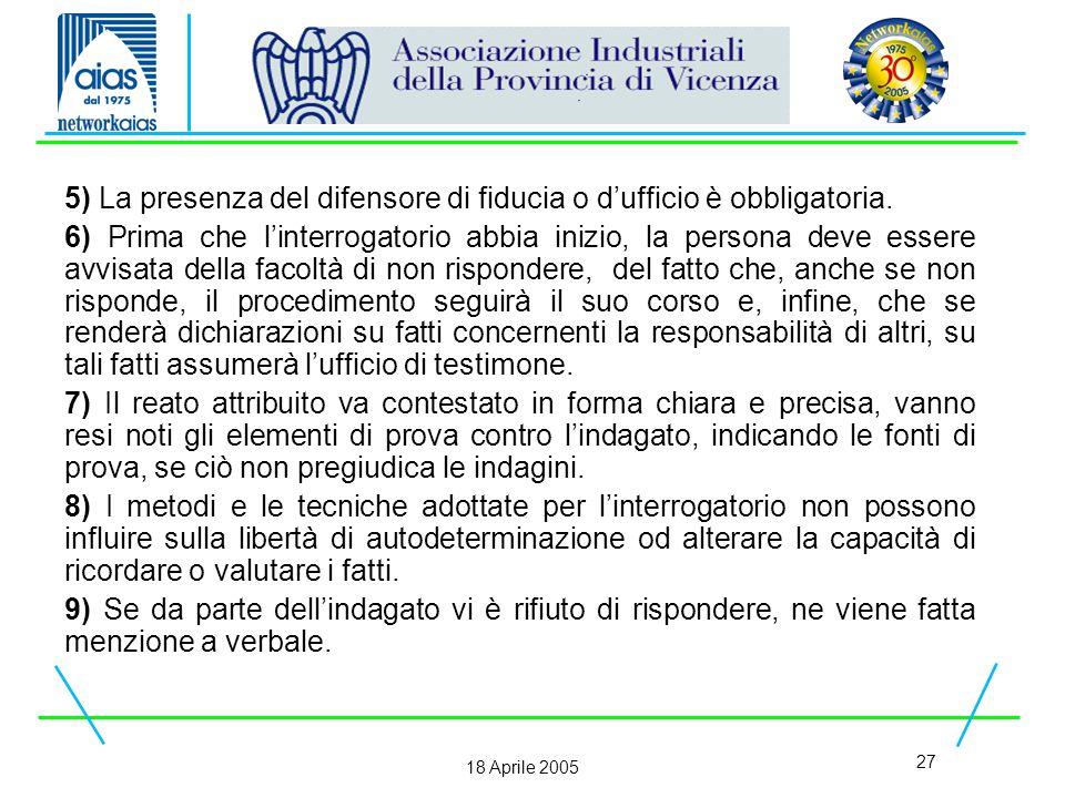 27 18 Aprile 2005 5) La presenza del difensore di fiducia o d'ufficio è obbligatoria.