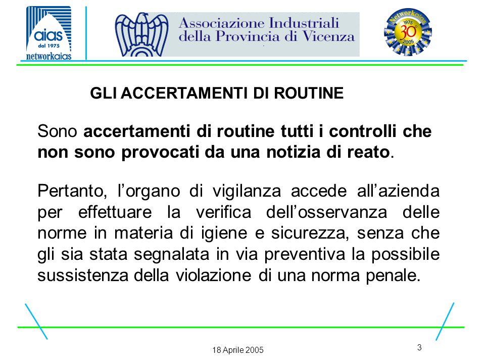 3 18 Aprile 2005 Sono accertamenti di routine tutti i controlli che non sono provocati da una notizia di reato.