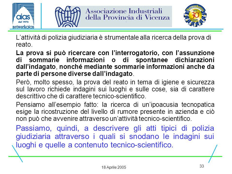 33 18 Aprile 2005 L'attività di polizia giudiziaria è strumentale alla ricerca della prova di reato.