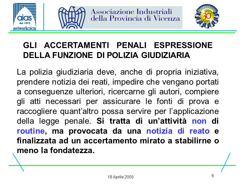 37 18 Aprile 2005 Talora, anche per i reati relativi alla sicurezza sul lavoro, si rende necessario il ricorso all'incidente probatorio.