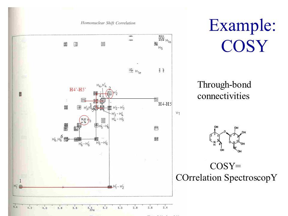 Example: COSY Through-bond connectivities COSY= COrrelation SpectroscopY H4-H5 H4'-H5' 1 2 3 4 5 6