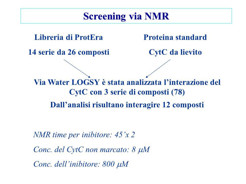 Screening via NMR Libreria di ProtEra 14 serie da 26 composti Proteina standard CytC da lievito Via Water LOGSY è stata analizzata l'interazione del C