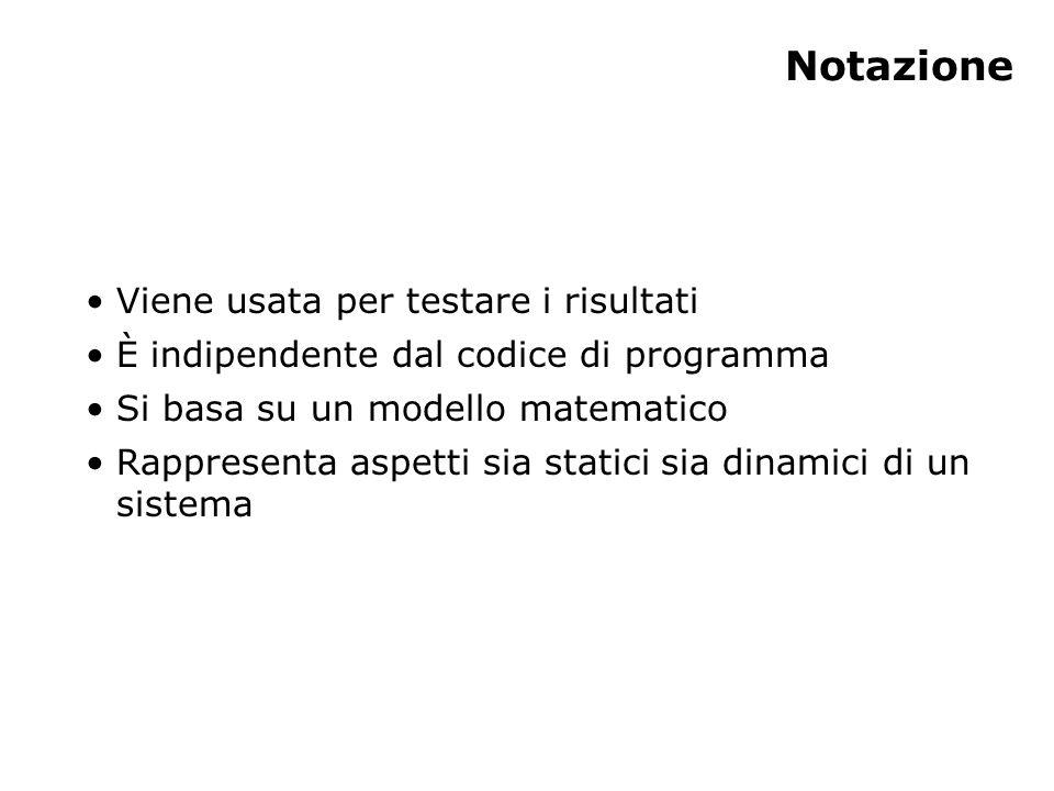 Notazione Viene usata per testare i risultati È indipendente dal codice di programma Si basa su un modello matematico Rappresenta aspetti sia statici sia dinamici di un sistema